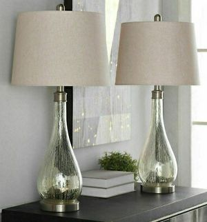 "New in box 2 pack stylecraft mercury glass table elegant 29"" tall table lamps with natural shade lamp for Sale in Pico Rivera, CA"
