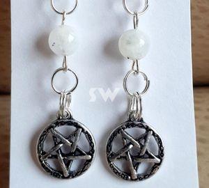 Genuine Moonstone Silver Pentagram Star Earrings for Sale in Austin, TX