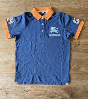 New Authentic BURBERRY Boys Polo Shirt Blue/Orange Size 10 Years for Sale in Central Houghton, WA