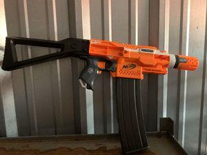 Nerf N-Strike Elite Orange Stryfe Dart Gun -With Custom Stock And Clip. No battery cover $40. for Sale in Elgin, IL