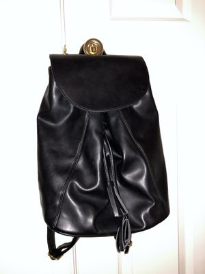 Black Faux Leather Top Flap Drawstring Backpack for Sale in Fairfax, VA
