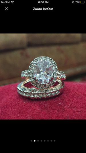 18k gold filled topaz wedding engagement ring band set for Sale in Silver Spring, MD