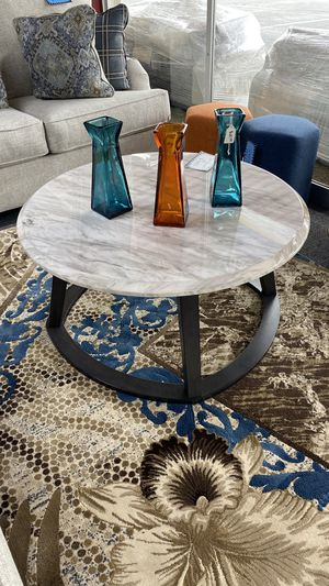 Round Faux Marble Coffee Table with Wood Base 39 for Sale in Irving, TX