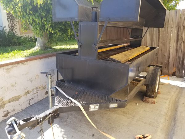1100 8 Ft Big John Trailer Wood Charcoal Grill For Sale