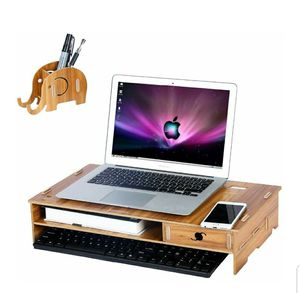 Wood Computer Monitor Stand Riser with Drawer and Mobile Phone Elephant Pen Holder Laptop Desktop Organizer with Keyboard for Sale in Bakersfield, CA