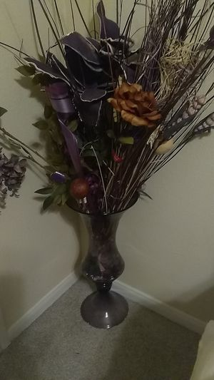 Purple tall vase about 2ft tall with purple flowers. for Sale in Houston, TX