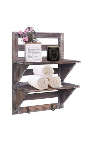 (ST07) RHF Rustic Shelves Bathroom Shelf Over Toilet Wood Wall Mounted Shelves for Bathroom Floating Shelves Wall Shelves 2 Hooks 2-Tier, (Brown) for Sale in City of Industry, CA