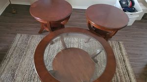 Wood/Glass coffee table with 2 end tables for Sale in Cypress, TX