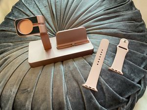 Combo of rose pink charging set for iphone and iwatch with pink iwatch band for Sale in Anaheim, CA