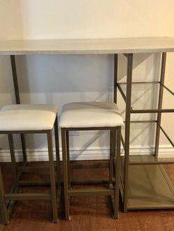 "Mercury Row Denham 3 Piece Table Set   White & Gold   24"" Stools, 36"" Table for Sale in Del Mar,  CA"