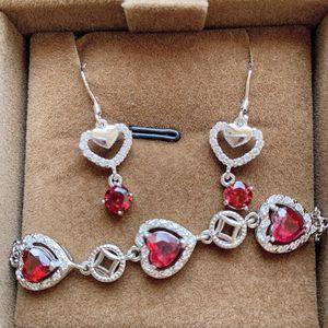 Natural Garnet Earrings + Bracelet (New Piece) for Sale in Los Angeles, CA