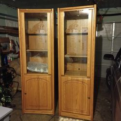 $120 EACH beautiful armoire china cabinet with glass door shelf and lights natural wood color for Sale in Stafford,  TX