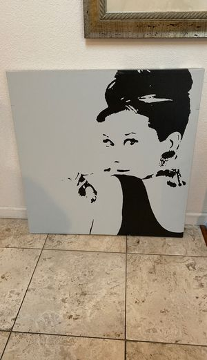 Audrey Hepburn canvas painting wall decor for Sale in San Jose, CA
