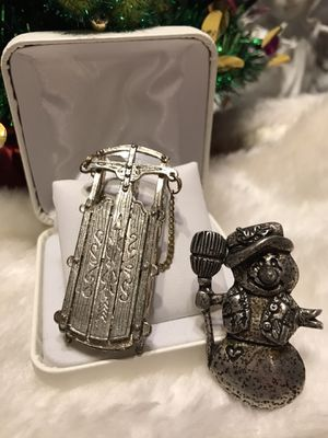 Adorable! So cute! Silver sleigh Sled & Snowman Christmas Pins for Sale in Gainesville, VA