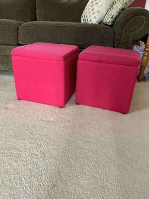 Set of two bright pink storage ottomans, Bolingbrook for Sale in Bolingbrook, IL