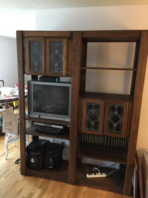 Walnut shelf unit with stain glass doors for Sale in Bellevue, WA