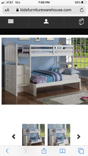 White bunk bed with mattresses for Sale in Tamarac, FL