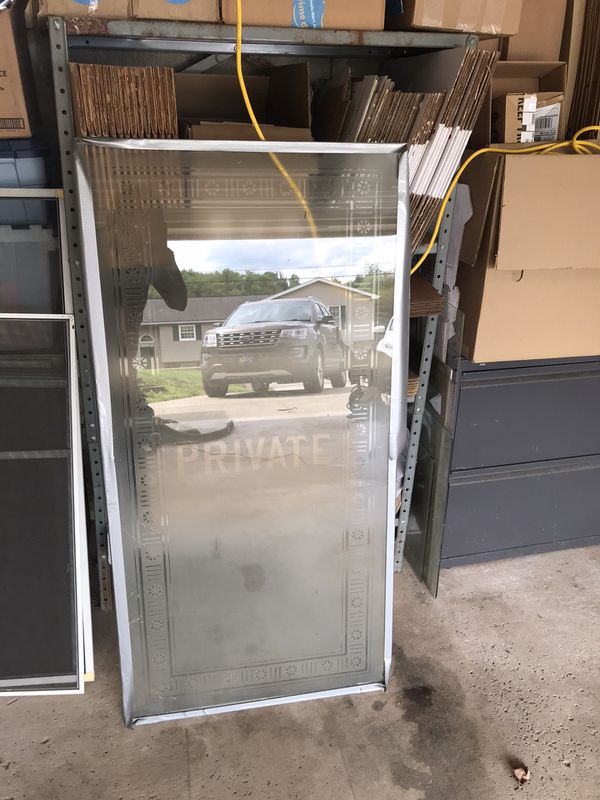Antique frosted glass door panel
