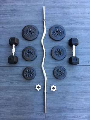 Weights Standard Dumbbells/CurlBar/Plates 45lbs for Sale in Riverside, CA