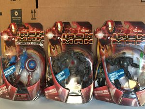 Iron Man Movie Figures Concept Captain America, Iron Monger & Titanium Man Marvel Legends Scale Avengers 6 inch New for Sale in Cerritos, CA