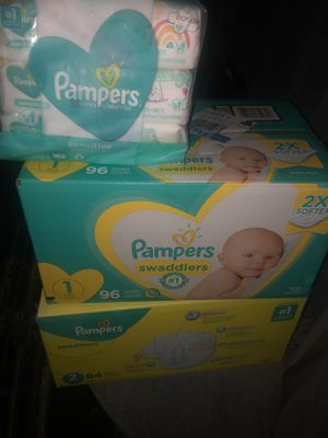 Pampers brand diapers (size 1&2 swaddlers) & wipes new in original packaging. for Sale in Raleigh, NC