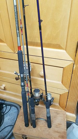 3 fishing poles-omni big water spin combo and 2 othera for Sale in Dunedin, FL