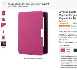Amazon Kindle Paperwhite Leather Case, Ink Fuchsia - fits all Paperwhite generations prior to 2018 (Will not fit All-new Paperwhite 10th generation) for Sale in San Francisco, CA