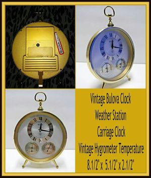 Vintage Bulova weather station quartz clock with hygrometer and temperature 4rg649 for Sale in Poway, CA