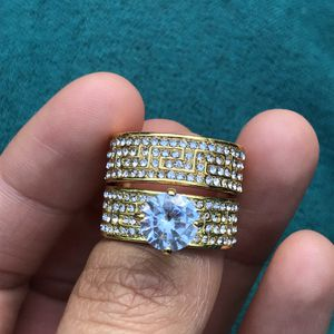 18k gold filled sapphire ring band set engagement wedding ring for Sale in Silver Spring, MD