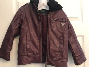 Guess Boys Brown Faux leather Moto jacket size 4 for Sale in West Palm Beach, FL