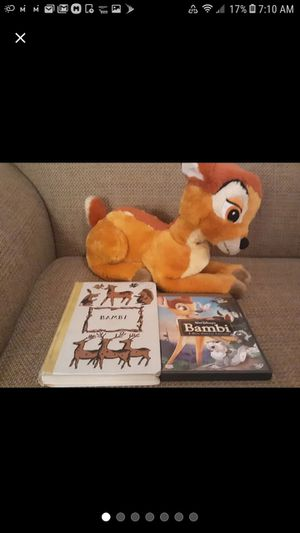 Bambi Disney plush, book, dvd for Sale in Matthews, NC