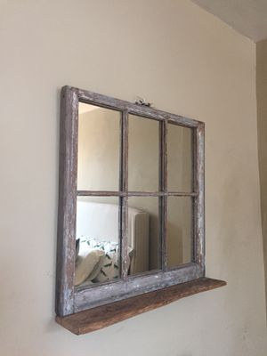 Farmhouse/distressed mirror with shelf for Sale in Baltimore, MD