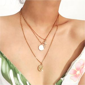 Vintage Multilayer Round Sequin Cross Pendant Necklaces for Sale in Tustin, CA