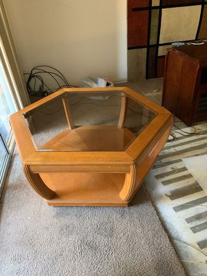 Octagon glass top table for Sale in Clovis, CA