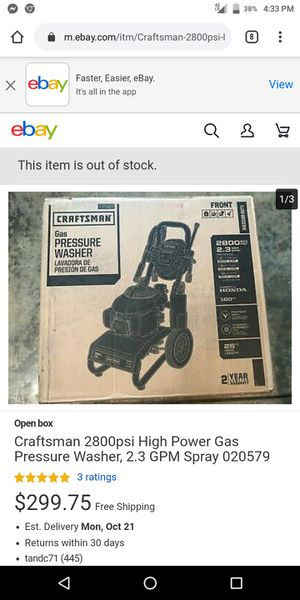 Pressure washer gas 2800psi 2.3gpm Honda engine for Sale in Tacoma, WA