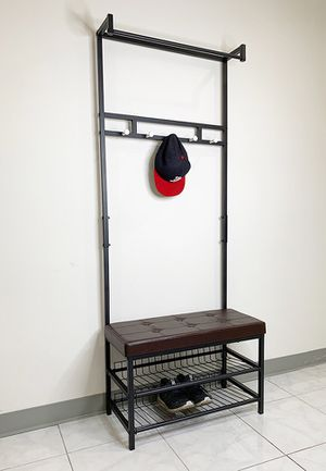 "New $35 Entryway Metal Shoe Rack w/ 28""x13"" Bench Seat and 71"" Tall Coat Hanger Storage for Sale in South El Monte, CA"