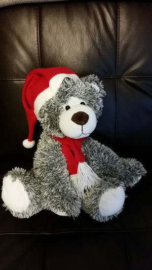 "Atico international plush 14"" Gray & White stuffed animal with red scarf for Sale in Princeton, FL"