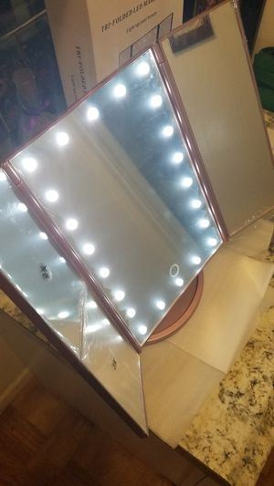 Rose Gold Tri-Fold 22 Led Lights Vanity Makeup Mirror for Sale in Rancho Cucamonga, CA