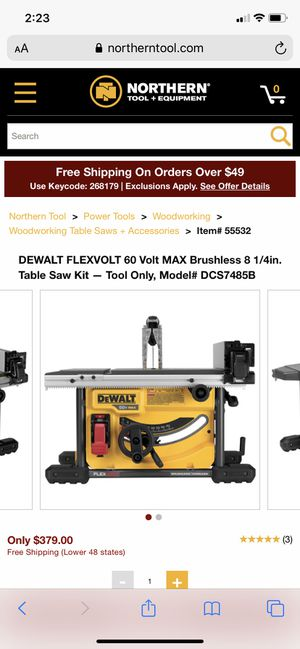Dewalt table saw flex volt (only tool) for Sale in Fircrest, WA