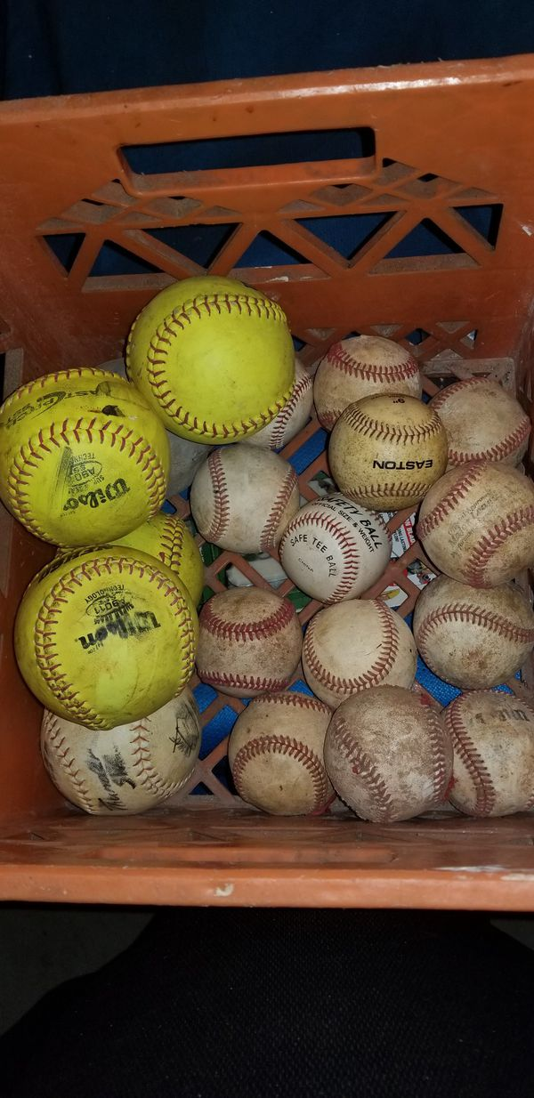 Baseballs Softballs, 13 Hard, 6 Soft