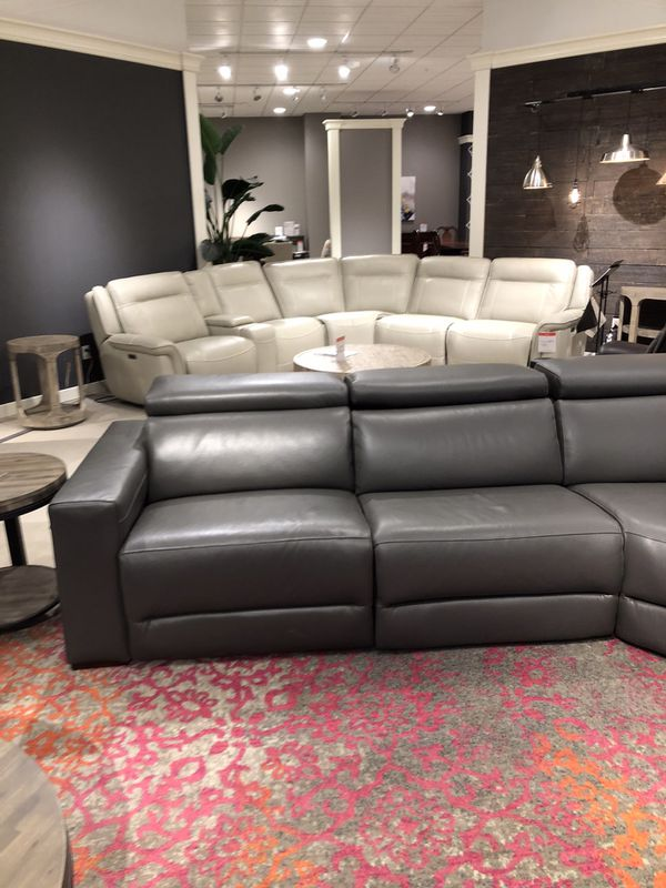 Grey Leather 6 Piece Sectional