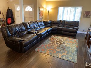 Dark brown leather couch for Sale in Diamond Bar, CA
