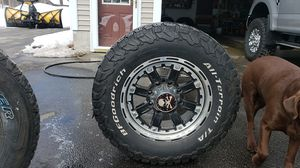 """18"""" rims and tires for Chevy GMC 8 lug $600 for Sale in Harrison, ME"""
