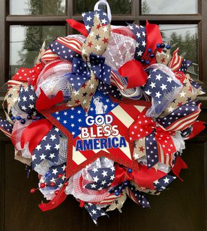Decomesh/ Ribbon patriotic, Fourth of July handmade wreath for sale for Sale in Lynnwood, WA