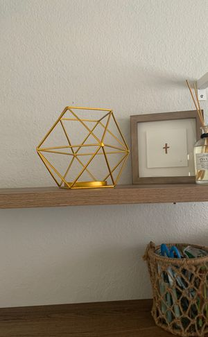 Gold Geometric Plant or Candle Holder for Sale in Orange, CA