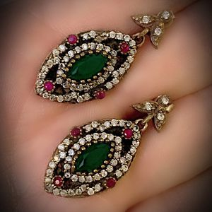 EMERALD RUBY FINE ART EARRINGS Solid 925 Sterling Silver/Gold WOW! Brilliantly Faceted Marquise/Round Gems, Diamond Topaz M5532 V for Sale in San Diego, CA