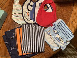 Newborn Infant Baby Boy Essentials Bundle Bib Burp cloth Blanket for Sale in Tamarac, FL