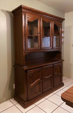 1980s Wooden Lighted Hutch China Cabinet Maple Wood for Sale in Sacramento, CA
