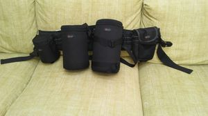 Never used lens and flash ( or other accessory ) pouches with belt. for Sale in Sterling, VA