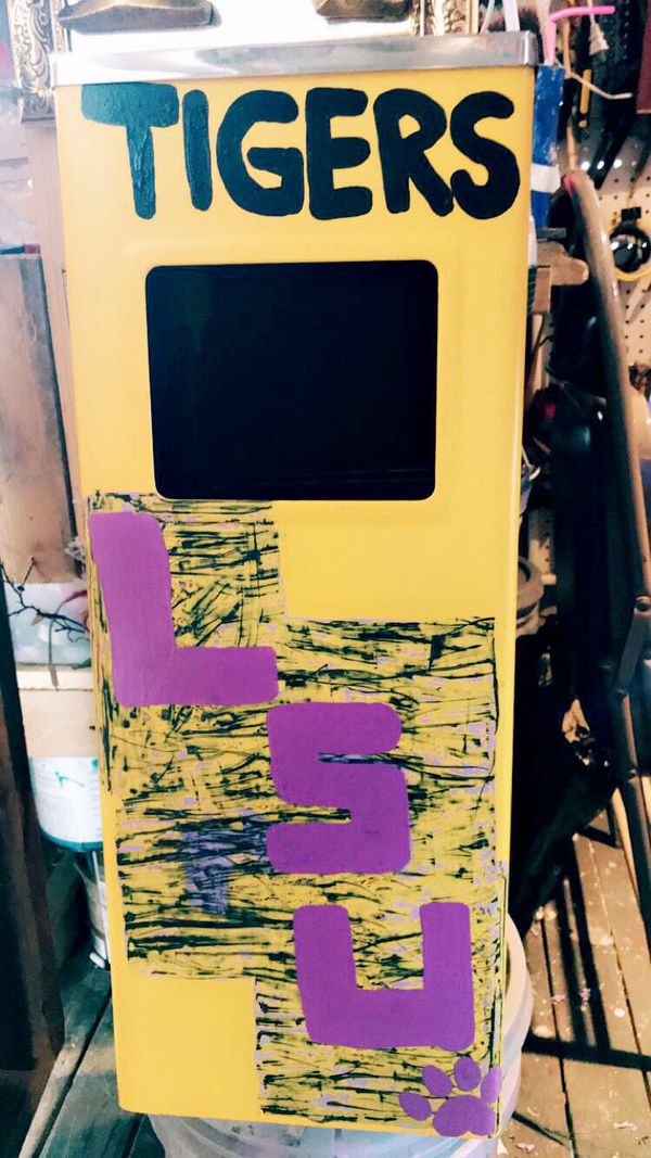 LSU hand made Custom metal ashtray/ trash container